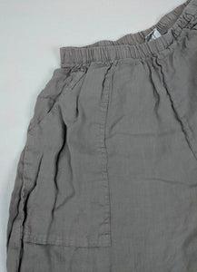 La Fixsun Gray Linen Pants Scallop Ruched Hem