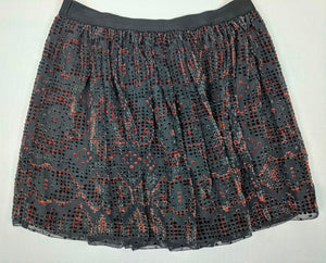 Fossil Pleated Skirt Crushed Velvet Top Layer sz M