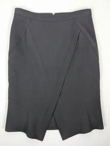 $158 BCBG Max Azria Black Taylon Skirt Faux Wrap Pencil Skirt sz 4