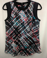 Load image into Gallery viewer, Vince Camuto Blouse Black Red White Blue Abstract Plaid sz XS