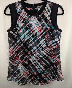 Vince Camuto Blouse Black Red White Blue Abstract Plaid sz XS