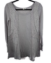 Load image into Gallery viewer, Anthropologie Eloise Thermal Henley Tunic Blouse Waffle Lace Purple S