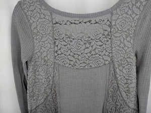 Anthropologie Eloise Thermal Henley Tunic Blouse Waffle Lace Purple S