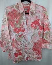 Load image into Gallery viewer, Chicos Floral Shirt w/Silver Stripe Blouse sz 2