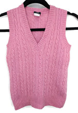 Load image into Gallery viewer, J Crew Cableknit Cashmere Wool Rabbit Hair Blend Sweater Vest sz XS