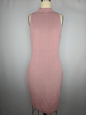 Bar III Womens Zip Back Sweaterdress sz M Deco Mauve Pink Ribbed NWT $89.50