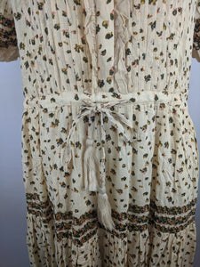 Free People Women Dress L Rare Feeling Maxi Natural Floral Boho Peasant NWT $148