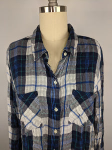 Lucky Brand sz M Pleat Back Duofold Flannel Shirt NWT