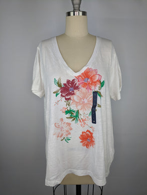 Lucky Brand Womens Bouquet V Neck Tee sz L NWT