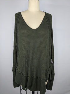 We The Free People Catalina Thermal Shirt Dark Military Green Damaged NWT