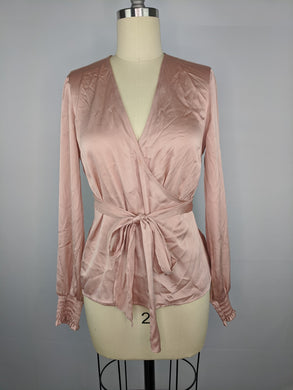 Bar III Womens Tie Front Blouse sz XS Blush Pink NWT $59.50
