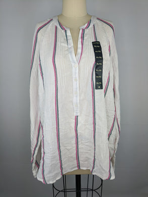 Lucky Brand Womens Stripe Gauze Shirt sz XL White Multi Top NWT $79.50