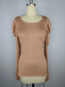 GUESS Womens Long Sleeve Prism Lurex Rib Mix Sweater sz XL Satchel Tan Multi NWT