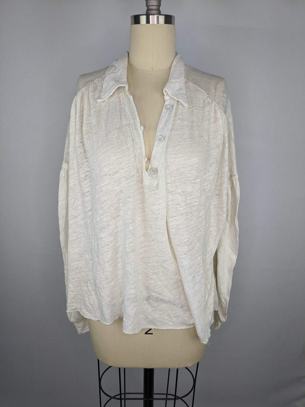 Free People Womens Rush Hour Collared Long Sleeve Top M Ivory Off White NWT $68
