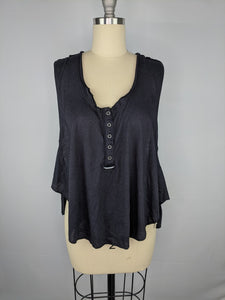 Free People FP Movement Women High Tide Cropped Side Tie Tank Top sz S Black NWT
