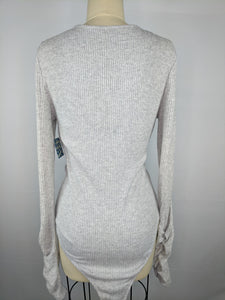Free People Women Cozy Up with Me Bodysuit sz L Grey Long Sleeve Deep V Neck NWT