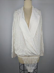 Intimately Free People Womens Elsa Bodysuit sz L Cream Off White NWT $69 *Flaw*
