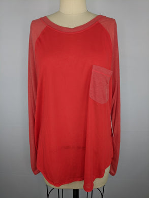 Free People FP Movement Womens Shirt Multiple SZ Red Rudi Tee Raglan Sleeve NWT