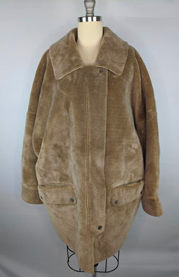 Free People Womens Teddy Coat sz L Lindsay Sherpa Jacket Neutral Tan NWT $168