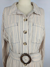 Load image into Gallery viewer, Free People Womens Dress sz S Beige Blue Audrey Stripe Midi Shirtdress NWT $128