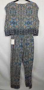 Free People Womens 2 Piece Set Top Pant sz S Blue Make My Day Tapestry Print NWT