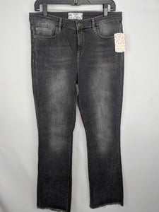 Free People Womens Jeans sz 30 Faded Black Gray Denim Raw Hem Straight Leg NWT