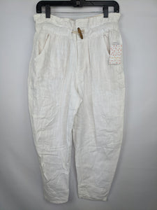 Free People Womens Pants sz XS Ivory Paradise High Waist Cotton Linen Blend NWT