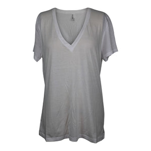 American Apparel Womens 50/1 Cotton V-Neck T-Shirt sz L in White NEW $22