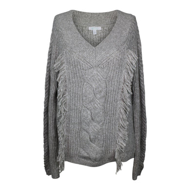 Abound Sweater sz XL Cable Knit Fringe Pullover in Grey Cloudburst NWT $35