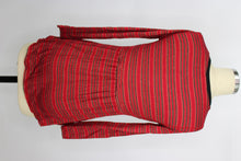Load image into Gallery viewer, Love, Fire Girl's High/low Seamed Top sz M in Red Black Stripe NWT $34