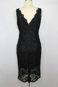 Jump Apparel Sequin Lace Scalloped Sheath Dress sz 7/8 in Black NWT $89