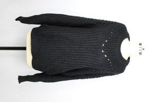 Elodie Open Stitch Pullover Sweater sz XL in Black NWT $30