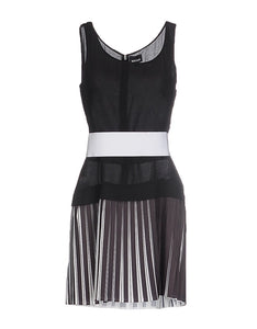 Womens Just Cavalli Dress sz 44 Black White Pleated Belted Made Italy NWT $1470