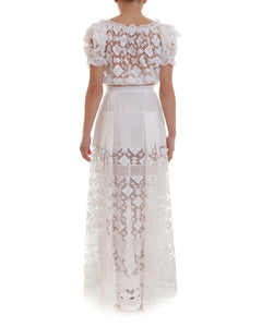 Womens JUST CAVALLI Maxi Skirt sz 44 L Ivory White Embroidered Lace Tulle NWT