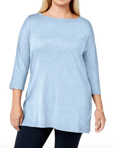 Karen Scott Womens Top Plus sz 3X Light Blue Heather Tunic Blouse Shirt NWT $40
