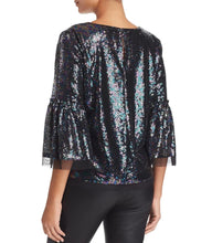 Load image into Gallery viewer, Le Gali Womens Blouse sz M Black Janella Metallic Sequin Boat Neck Top NWT $139