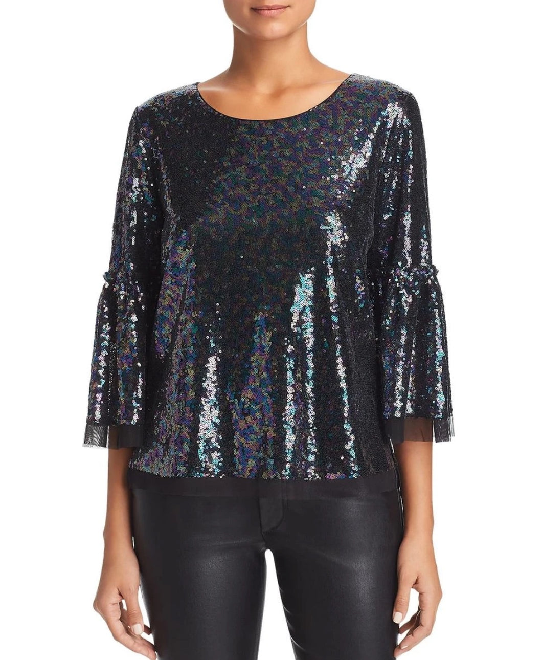 Le Gali Womens Blouse sz M Black Janella Metallic Sequin Boat Neck Top NWT $139