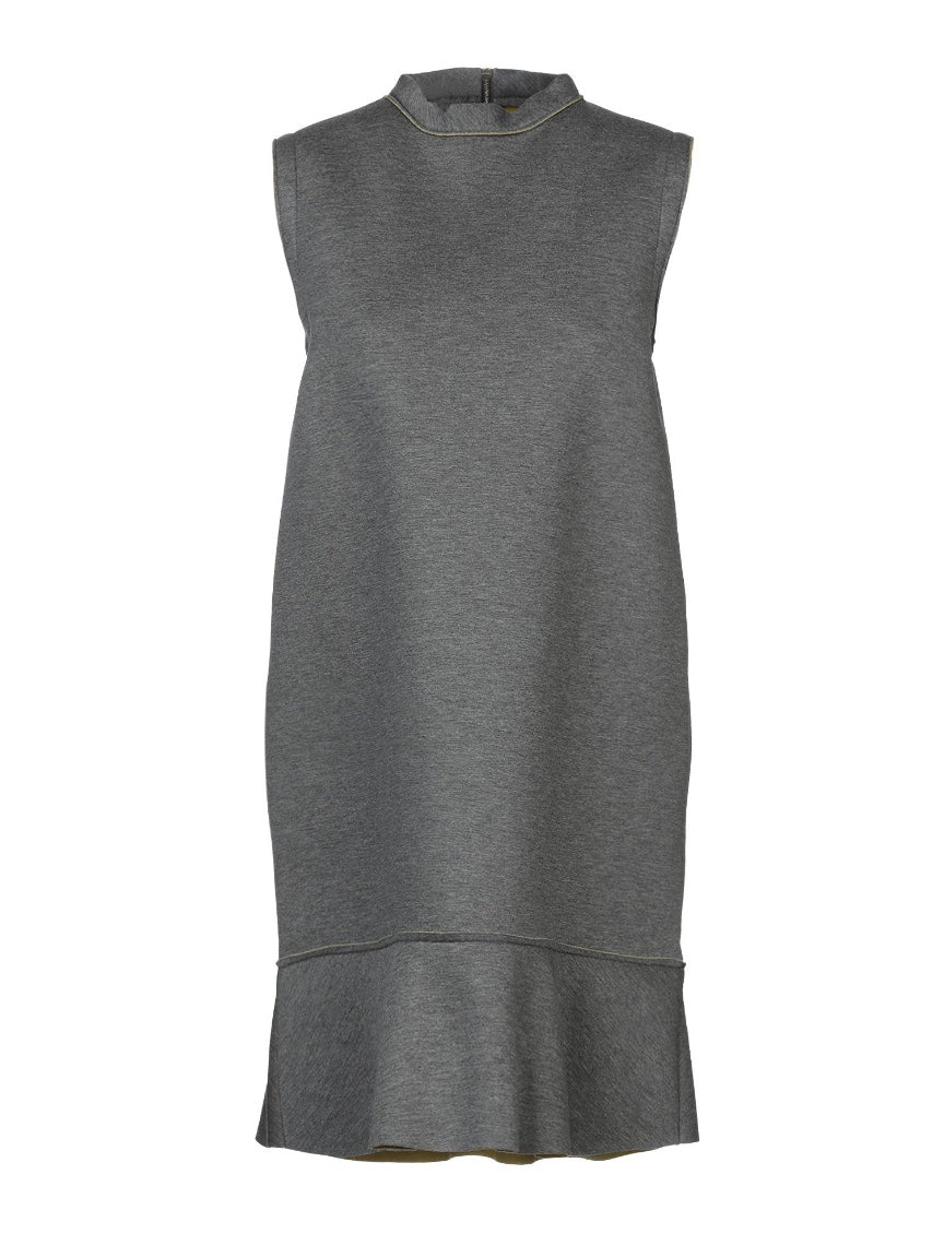 Marni Dress 44 Gray Neoprene Sleeveless Flounce Ruffle Hem Italy Made NWT $1490