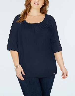 Michael Kors Womens Top Plus Size 2X Navy Blue Gathered Sleeve Blouse NWT $64