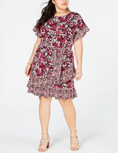 Load image into Gallery viewer, Michael Kors Womens Dress Plus sz 1X Ruffle Black Electric Pink Floral Print NWT