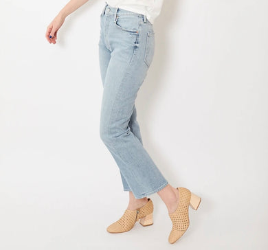 Womens MOTHER Jeans 26 The Tripper in Thanks Again Light Blue Stonewash NWT $238