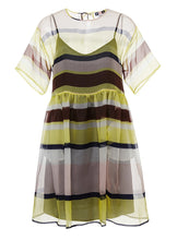 Load image into Gallery viewer, Women MSGM Italy Silk Babydoll Dress sz 44 Yellow Stripe Sheer Organza NWT $1510