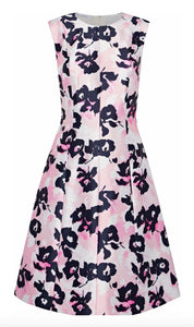 Oscar De La Renta Dress 6 Pink Floral Fit Flare Silk Satin Made Italy NWOT $2940