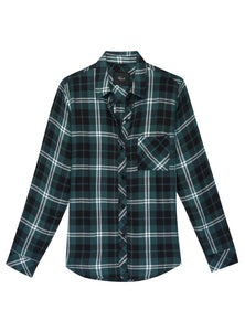 Womens Rails Hunter Button Down sz XS Pine Green Black White Plaid NWT $158