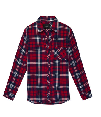 Womens Rails Hunter Button Down XS Red Scarlet Midnight & White Plaid NWT $158