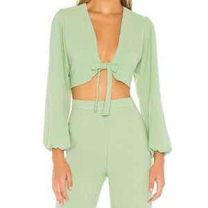 Womens RESA Cha Cha Crop Top sz XS Mint Green Tie Front Long Sleeve NWT $89