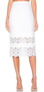 Rebecca Taylor Women Dia Lace Skirt sz 2 Snow White Pencil Knee Length NWT $375