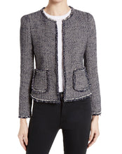 Load image into Gallery viewer, Rebecca Taylor Womens Confetti Tweed Jacket sz 0 Dark Navy Pink White NWT $450