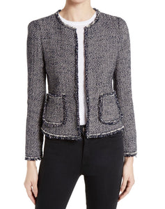 Rebecca Taylor Womens Confetti Tweed Jacket sz 0 Dark Navy Pink White NWT $450