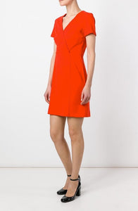 Womens Sonia Rykiel Dress sz 40 Red V Neck Wrap Waist Pleat Detail Mini NWT $385
